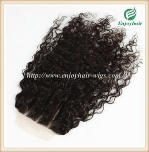 Lace top closure 5''x5'' ,brazilian virgin hair natural color loose curly 10''-24''length