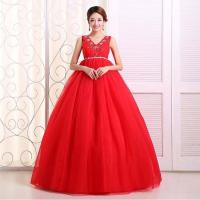 Cheap Plus size V-neck maternity wedding dress 2014 Red Lace-up Beaded Bride Ball Gown Free Shipping for sale