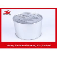 China Plain color Tinplate Round Food Packaging Gift Tin Containers With Easy Open Lid on sale