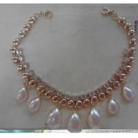 Cheap Natural Pearl handmade necklace with Custom shape Sliced Gemstone for sale