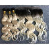 """Cheap Last Long Russian Ombre Human Hair Extensions Body Wave with Ear to Ear 13""""x4"""" Lace Frontal for sale"""