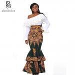 Cheap african design dresses Off The Shoulder African Batik Print Dress For Women for sale