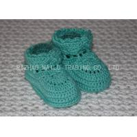 Cheap Sky Blue Crochet Toddler Booties Winter Knitted Baby Boots With Shoelaces for sale