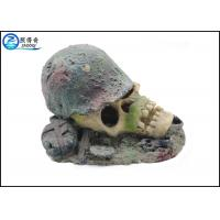 Cheap Air Operated Skull Fish Tank Ornaments , Aqua Resin Ornaments For Decorating for sale