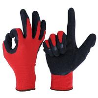 Cheap L2001 13G Red Polyester/Nylon Liner, with Black Latex Palm Coating, Crinkle Finished for sale