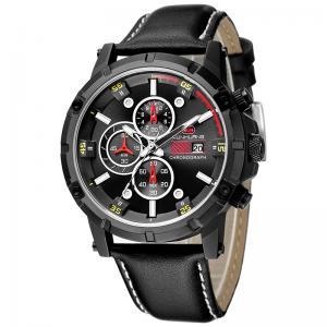 China Leather Chronograph Strap Width 23mm Quartz Sport Watch on sale