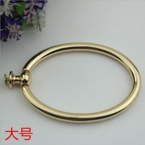 Cheap Unique fashion handbag hardware light gold metal circle handle for tote bag for sale