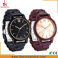 Cheap Christmas Gift Red and Dark sandalwood Gold hand wood watch private label for sale