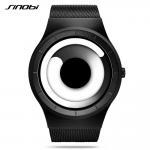 Cheap SINOBI Unique Vortex Concept Watch Men High quality Stainless Steel Milan Band Modern Trend Sport Black Wrist Watches for sale