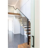 Cheap Clear glass railing floating stair for sale