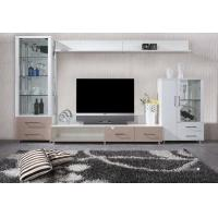 China Winglets Wood Grain Modern TV Wall Unit / White Corner TV Unit MDF Frame on sale