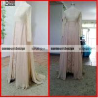 China Real Sample Champagne Color Chiffon And Lace Full Sleeve Long Formal Gowns on sale