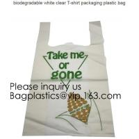 China BIO Biodegradable Pre-Printed Thank You Retail Bags,Green Plastic T-shirt Shopping Bags,Compostable Biodegradeable, Extr on sale