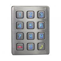 China Weather proof illuminated 12 keys stainless steel access door control keypad with CE cert on sale