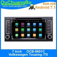 China Ouchuangbo car dvd audio radio 2G RAM andrioid 7.1 for Volkswagen Touareg T5 with bluetooth 3G Wifi Rear View Camera on sale