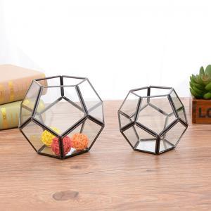 China Football Shaped Glass and Copper Geometric Terrarium Air Plant Pot Succulent Planter on sale