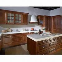 Cheap Kitchen Cabinet, Made of MDF Faced with Wooden Veneer or Solid Wood for sale