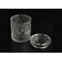 Cheap Exquisite Embossed Pattern Glass Candle Holders Bulk With Lids , Three Different Size for sale