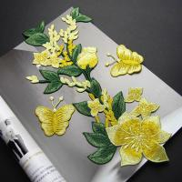 Cheap Yellow Flower Sew On Embroidered Patches Lace Appliques For Clothing 14 X 32 CM for sale