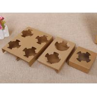 Cheap Durable Takeaway Food Packaging Kraft Paper Cup Holder For Two Bubble Tea Cups for sale
