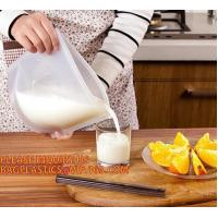 China Reusable Food grade Silicone Vacuum Food Fresh Bags Wraps Fridge Containers Refrigerator Bag silicone food storage bag on sale
