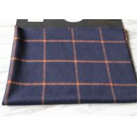 Cheap Business Casual Style Plaid Tartan Fabric , Dark Blue Tartan Fabric Wool With Orange Line for sale