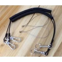 China Spring Black Coile Cable with Heavy Duty Delux Swivel Hook&Bolt Snap&Split Ring&Wire Loop on sale