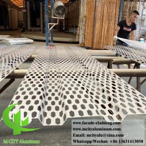 China Decorative perforated aluminum sheet metal panel hexagon shape powder coated grey color on sale