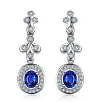 China White Gold 18k Gold Gemstone Earrings Sapphire Drop Earrings For Bridal on sale