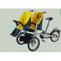 Cheap Yellow Plastic Baby Stroller Folding Bike With Twin Baby Seat for sale