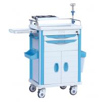 Cheap ABS Hospital Medical Treatment Cart On Wheels With IV Stand And Oxygen Holder for sale