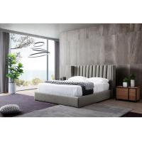 China 5 Star Hotel Grey Velvet King Size Bed With USB Connection High Density on sale