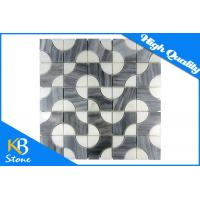 Cheap Lined Polished Waterjet Marble Tile Kitchen Bathroom Decoration Stone Mosaic Wall Sheet for sale