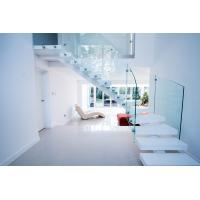 Cheap Interior white color curved staircase with glass railing design for sale