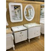 Cheap Wall Embossing Board Single Bowl Bathroom Vanities With Mirror 60cm for sale