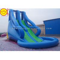 Cheap Blue Style Large Inflatable Water Slide With Pool For Water Park 10m*5m*8m for sale