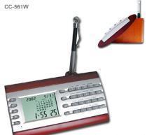 China Desktop Digital Calendar Clcok w/ Calculator On Wood Base on sale