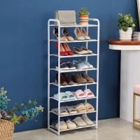 Cheap 8 Tier Metal Mesh Shoe Rack White Color Powder Coating With Non - Slip Rods for sale