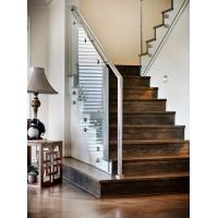 Cheap Carbon steel straight staircase with wooden tread modern design for sale
