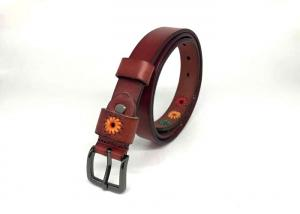 China Embroidered Flowers Cowhide 95cm Female Leather Belts on sale