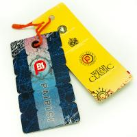 Cheap Bright Color Custom Shaped Clothing Hang Tags , Product Swing Tags For Jeans for sale
