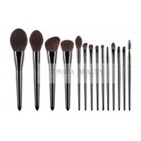 Cheap Luxury Soft Bio-Tech Synthetic Hair Brush Shiny Black 14 pcs Professional Makeup Brush Cosmetic Brush Set for sale