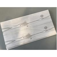 Cheap Flat 25cm Waterproof Wall Panels Wooden Pattern With Double Silver Lines for sale