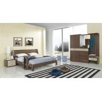 Cheap Walnut wood home bedroom furniture sets by curved headboard bed and full mirror stand for sale