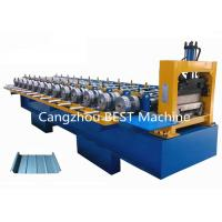 China Standing Seam Boltless Roof Panel Roll Forming Machine Hydraulic Cutting Type on sale