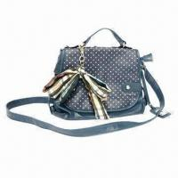 China Synthetic Leather Shoulder Bag with Bubble Printed Flap and Individual Bow Hanging on sale