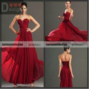 Cheap Long Beautiful Burgundy Chiffon Sweetheart Neck Formal Evening Dresse for sale