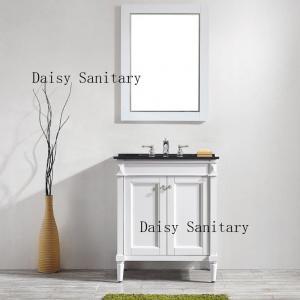 Cheap Single Style Bathroom Floor Vanities , Solid Wood Bath Vanity In White Color for sale