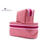 Cheap Light Weight Fabric Cosmetic Bag Small Women Handbag Deep Pink Color Oxford Lining for sale