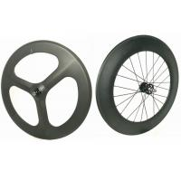 Cheap Light Weight 3 Spoke Carbon Track Bike Wheels 700C 20MM Width Anti High Temperature for sale